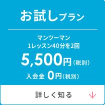 お試しプラン マンツーマン英会話1レッスン(40分2回)5,500円